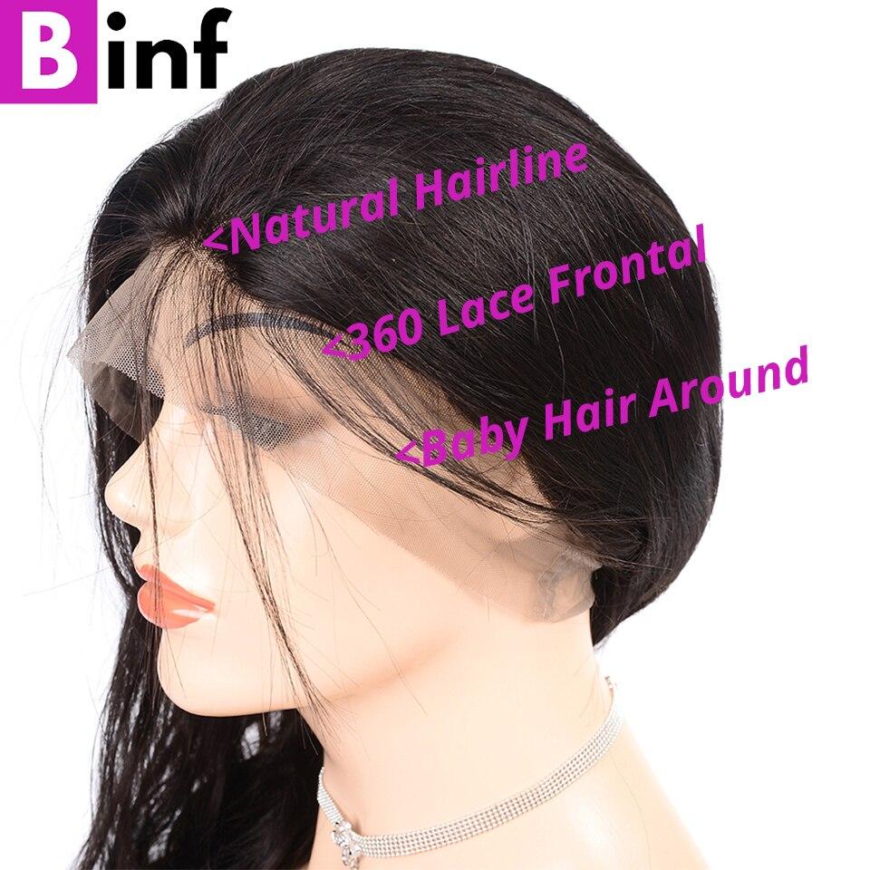 BINF объемная волна, 360, парик с фронтальной тесьмой, высокое качество, индийские волосы remy, предварительно выщипанные с детскими волосами, плотность 150%, 10-24 дюйма, цвет 1B