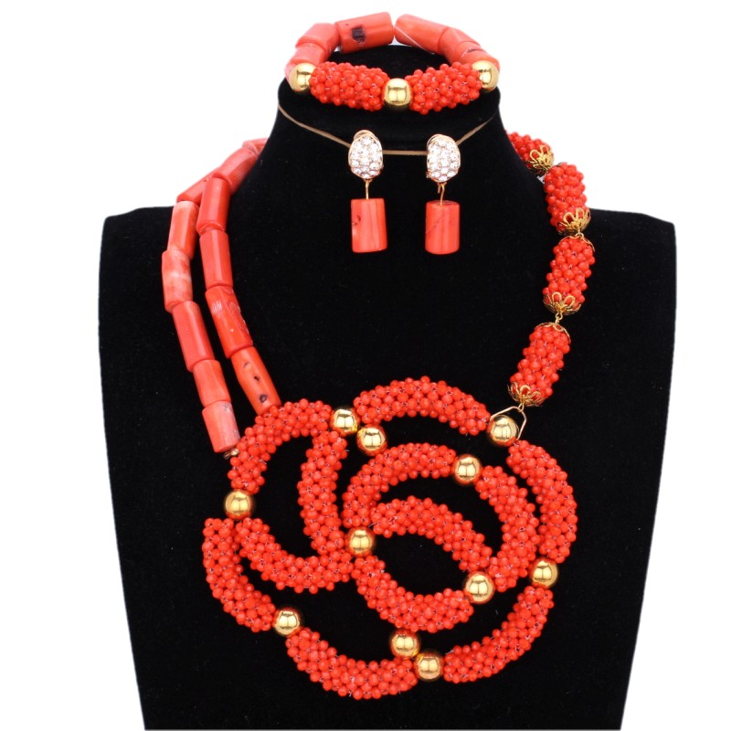 Orange Nature African Coral Beads Jewelry Set For Women Nigerian Wedding Handmade Crystal Bridal jewelry Set Free Shipping 2018