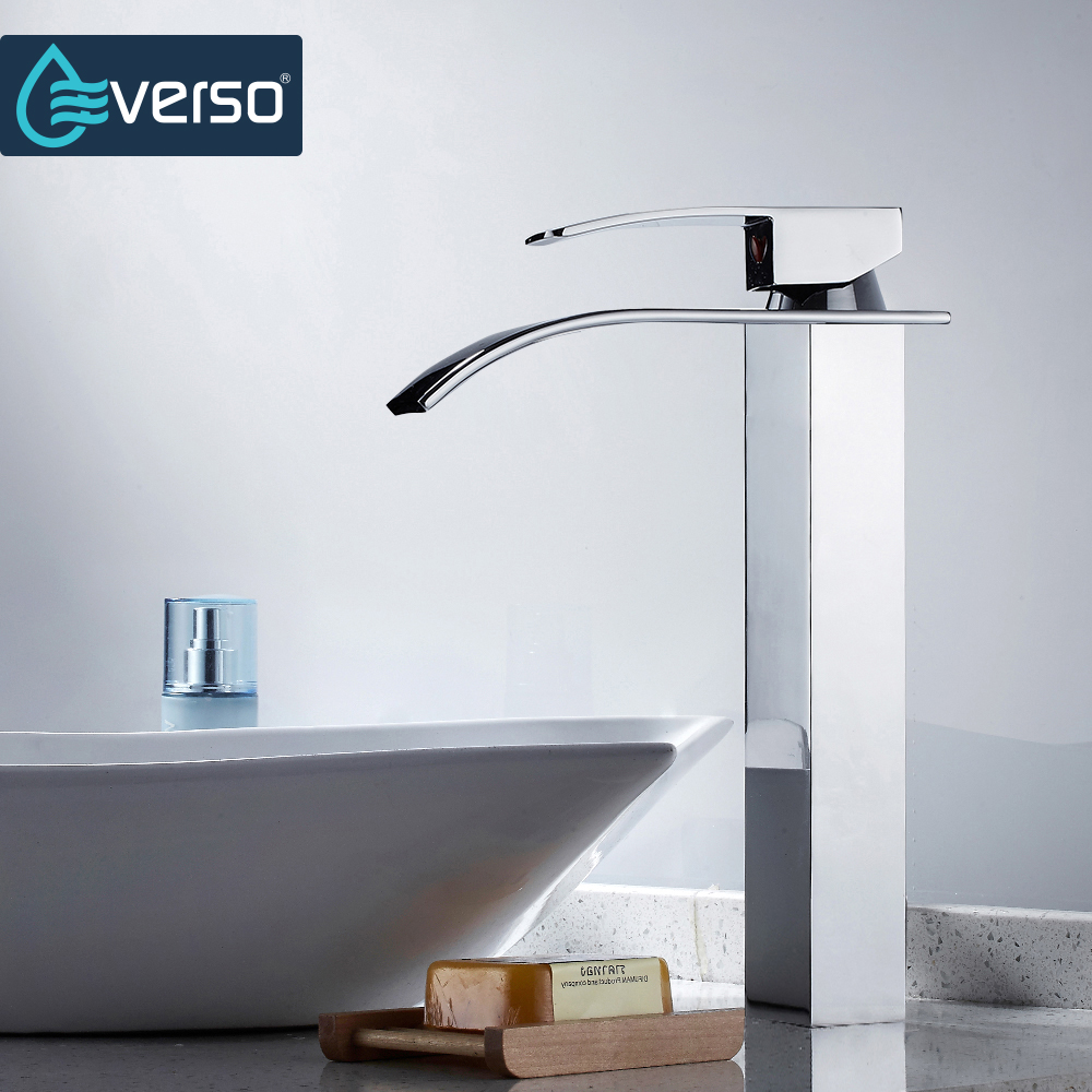 EVERSO Brass Waterfall Faucet Basin Faucet Bathroom Faucet Basin Mixer Tap Single Handle Hot and Cold Water Tap led color changing brushed nickle basin faucet hot and cold water faucet waterfall spout dual handle tap