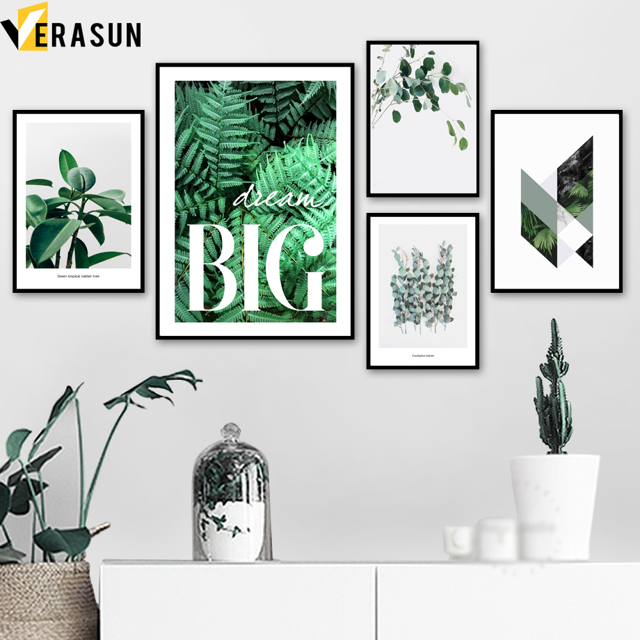 Green Plant Fern Leaves Geometry Quotes Wall Art Canvas Painting Nordic Posters And Prints Wall Pictures For Living Room Decor-in Painting & Calligraphy from Home & Garden