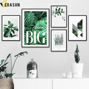 Image 1 - Zielony roślina paproć liści geometria cytaty obraz ścienny na płótnie Nordic plakaty i reprodukcje zdjęcia ścienny do salonu wystrój
