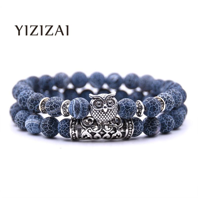 YIZIZAI Owl Bracelet Jewelry Stone Bracelets Men Women Pulseira Masculina Feminina Bileklik Pulseras Mujer Bijoux Armband set