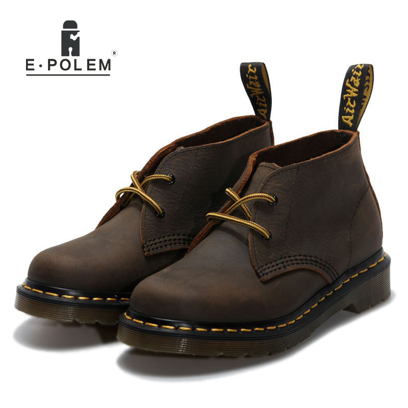 2017 Fashion Men Genuine Leather Boots Shoes Work Martin Boots Unisex Platform Autumn Winter Vintage Casual Ankle Martin Boots compact bicycle co2 pump valve alloy inflator head smart fits schrader
