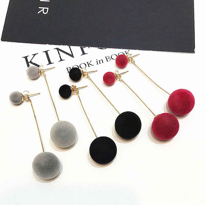 אדום שחור אופנה קטיפה כדור Drop עגילים לנשים קוריאני קטיפה עגול ציצית ארוך להתנדנד עגילי הצהרת תכשיטי מתנה