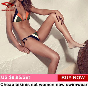 Triangle swimwear bikinis set string patchwork color