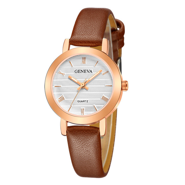 woman watch 2018 New Fashion Geneva Women Leather Band Stainless Steel Quartz An