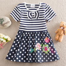 NEAT New baby girl clothes college style girls dresses 100% cotton embroidered wave points stripe bow kids clothes H4641#