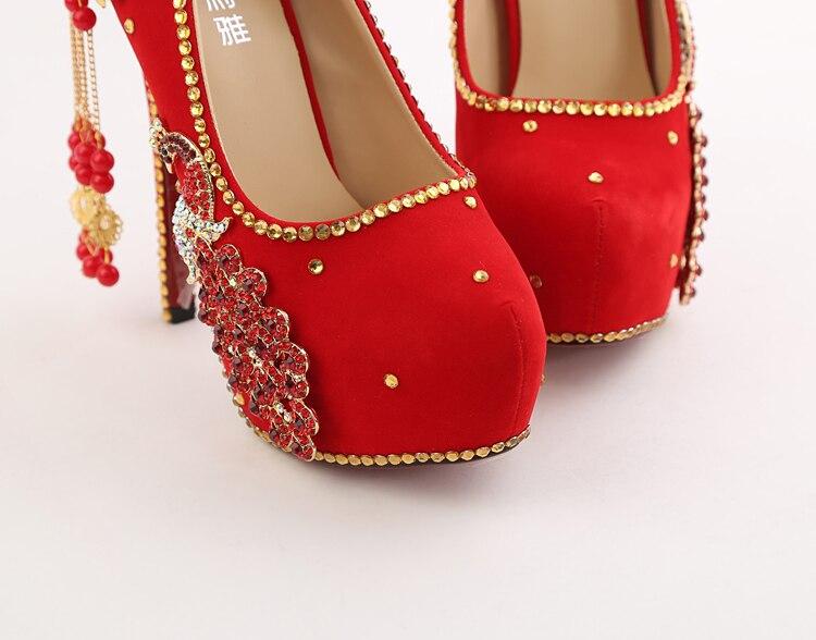 ebfe6a003d02b5 ... 19 2018 Spring Red Stiletto High Heeled Platform Pumps Wedding Pointed Bridal  Shoes Online 14cm Hot Sale ...