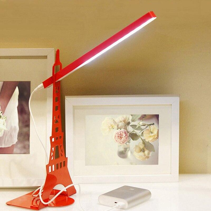Multi-function USB Charge Eiffel <font><b>Tower</b></font> Desk Lamp Protect Eye Touch Led Night Light Natural Light DIY Bookshlf For Reading Light