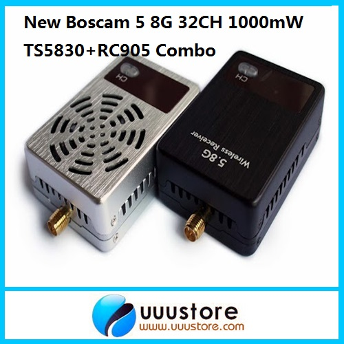 Boscam 5.8G 32CH 1000mW TS5830 Wireless Transmitter & 32CH Video Receiver RC905 Combo boscam fpv 32ch 5 8g 600mw wireless transmitter rc905 rx receiver