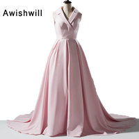 New Design Turndown Collar V Neck Pink Pageant Dress Sleeveless With Train Modest Evening Party Dress