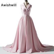 12407da954 Nowa Konstrukcja Ścielenie Łóżka Kołnierz Dekolt Różowy Korowód Sukienka  Bez Rękawów Z Dworca Modest Evening Party Dress for Wom.