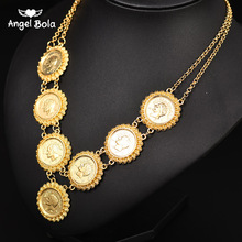 NEW Muslim Allah Necklace Arabic Coin Necklace for Women Gold Color Arab/Africa Islamic Like Jewelry Make Money Gift Lucky
