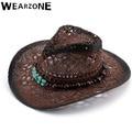 Wearzone 2017 al aire libre viajes mujeres hombres sombreros de paja de ala ancha cinturón de vaquero Plegable floppy summer sun sombrero de cuero de alta calidad sombreros