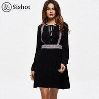 Sishot Women Casual Dresses 2017 Autumn Black Plain Lace Up O Neck Short Trumpet Dress Long