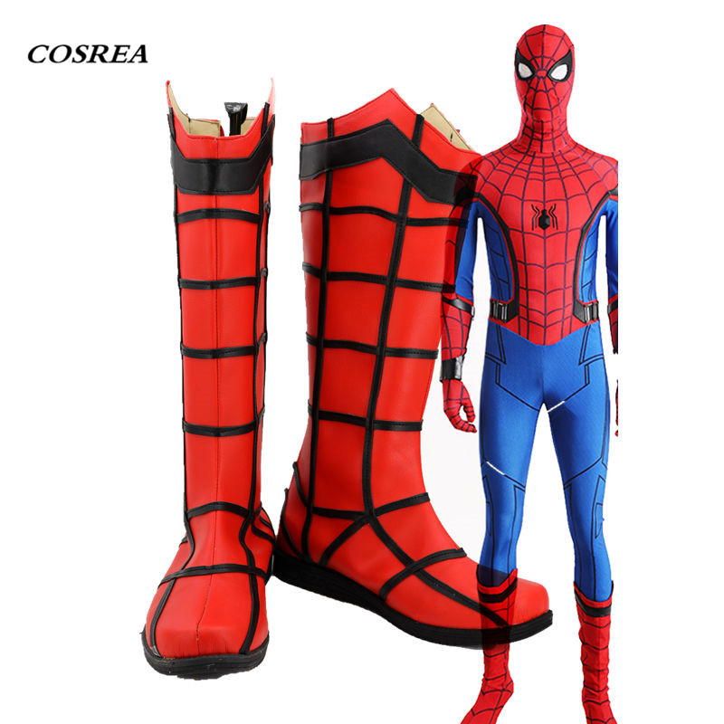 COSREA Iron Spiderman Cosplay Superhero 3D Spider Man Superman Homecoming Boots Cosplay Halloween Party Shoes For