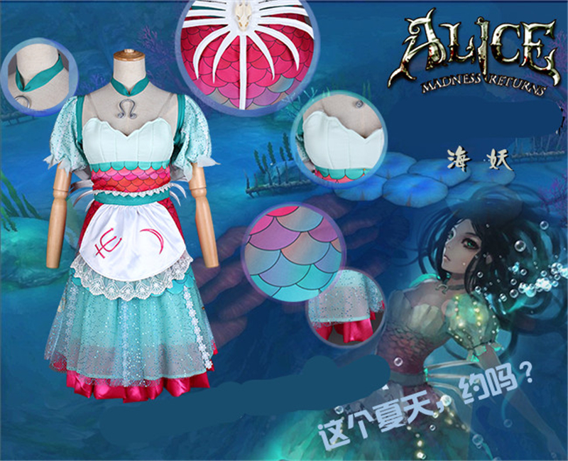 Alice Madness Returns Алиса Русалка платье горничной Хэллоуин Униформа COS Косплэй костюм