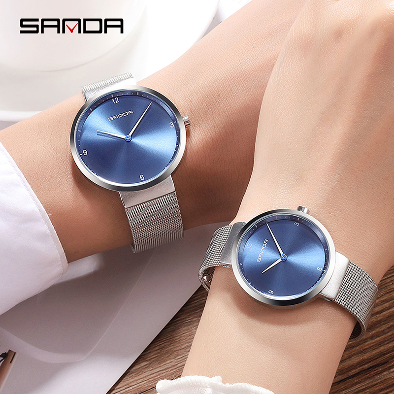 SANDA Luxury Couple Watches Fashion Simple Men Women Quartz Watches Ladies Lovers Bracelet Wristwatches Female Designed Clock
