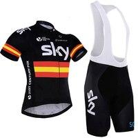 2017 Espana Flag Strips Sky Cycling Jersey Bib Shorts Gel Black Bicycle Clothing MTB Ropa Ciclismo