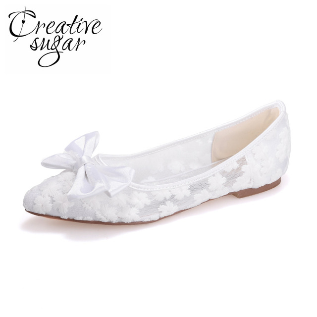 2eb6eedf3274 Creativesugar pointed toe bow flats mesh see through lace wedding party  summer style shoes pink black white champagne ivory blue