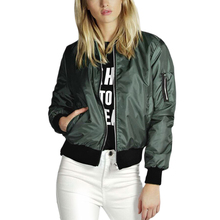 Female Bomber Jacket Solid Long Sleeve Casaco Feminino 2017 Autumn Winter Pockets Zippers Women's Jackets Plus Size S-4XL(China)