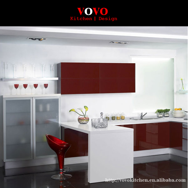 White Kitchen Cabinets High Gloss: High Gloss White And Red Color Combined Modern Lacquer