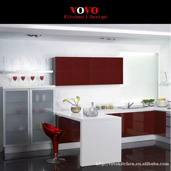 Hochglanz Weiß und Rot Farbe Kombiniert moderne lack Küchenschrank ...
