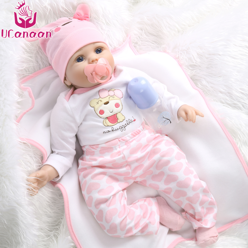 UCanaan 55cm Soft Silicone Doll Reborn Baby 22 Toy For Girls Newborn Girl Baby Birthday Gift For Child Bedtime Early Education 55cm soft body silicone reborn baby doll toy for girls newborn girl baby birthday gift of child bedtime early education toy