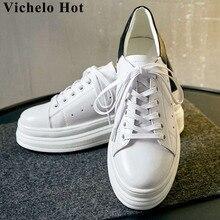 Vichelo Горячая ручной работы натуральная кожа на шнуровке классические белые кеды на Высоком толстом на платформе с круглым носком обувь вулканизированной L18