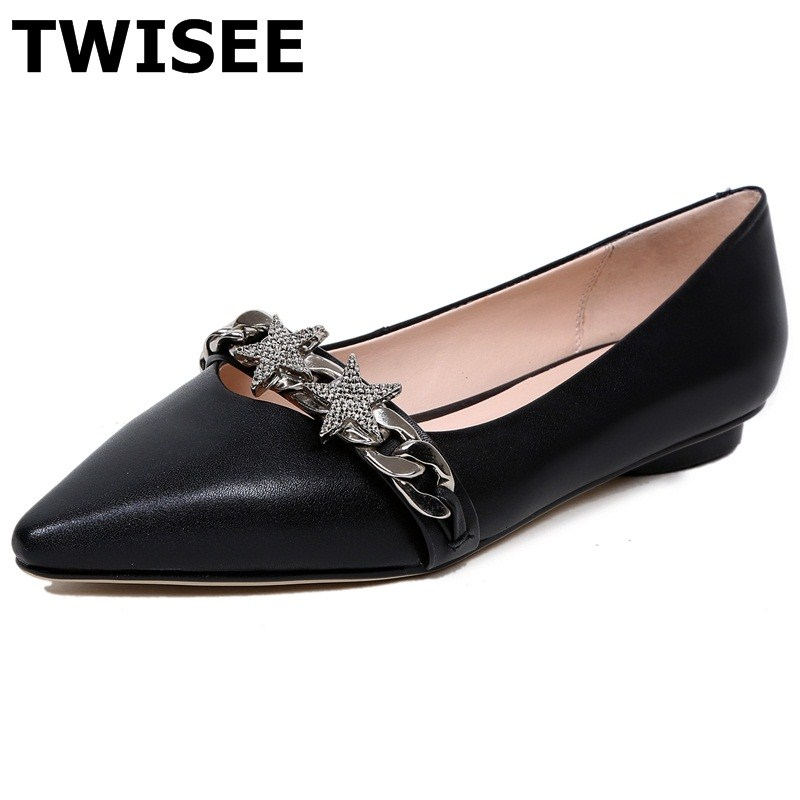 TWISEE Chain Pointed Toe Beautiful chaussure femme women flat shoes summer flats Bonded Leather Comfortable Cow Leather weweya 2017 summer candy colors ladies flats fashion pointed toe shoes woman new flat shoes women plus size chaussure femme