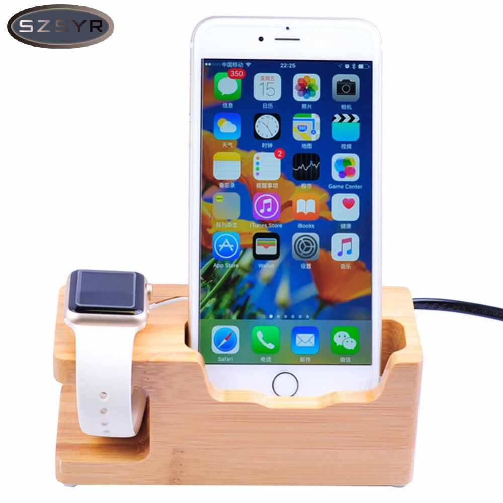 Natural Bamboo Wood Charger 3 USB Ports US EU UK Plug Charging Dock Station Stand Holder For Cell Phone for iWatch Freeshipping