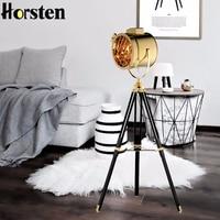 Horsten Industrial Bar Nordic American Creative Studio Retro Silver Golden Floor Lights Tripod Searchlight Floor Lamps E27