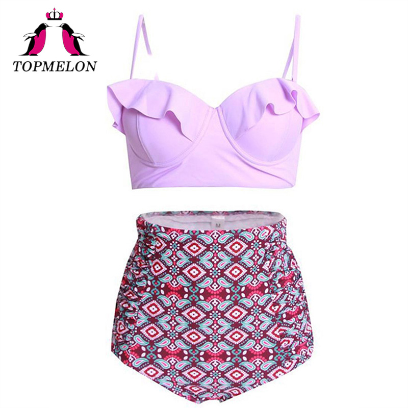 TOPMELON 2018 New Bikinis Women Swimsuit High Waist Bathing Suit Plus Size Swimwear Push Up Bikini Set Vintage Beach Wear 3XL 2018 women bikini set plus size swimwear swimsuit female beach wear push up stripe brazilian bikini high waisted bathing suit