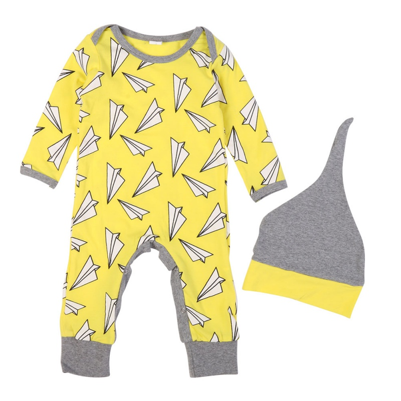Newborn Baby Romper Paper Airplane Spring Jumpsuit For Baby Boy Girl Toddler Long Sleeve Rompers Childrens Clothing