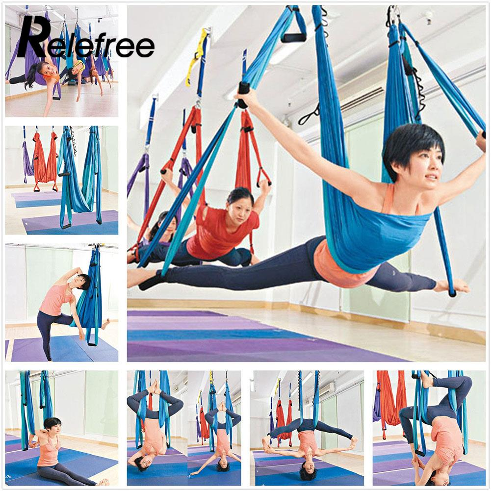 Relefree Decompression Hammock Inversion Trapeze Anti-Gravity Aerial Traction Yoga Gym Fitness Sling Hanging Blue 2 5m 1 5m bearing 500kg elastic exercise yoga hammock aerial swing anti gravity yoga belt inversion trapeze hanging gym traction