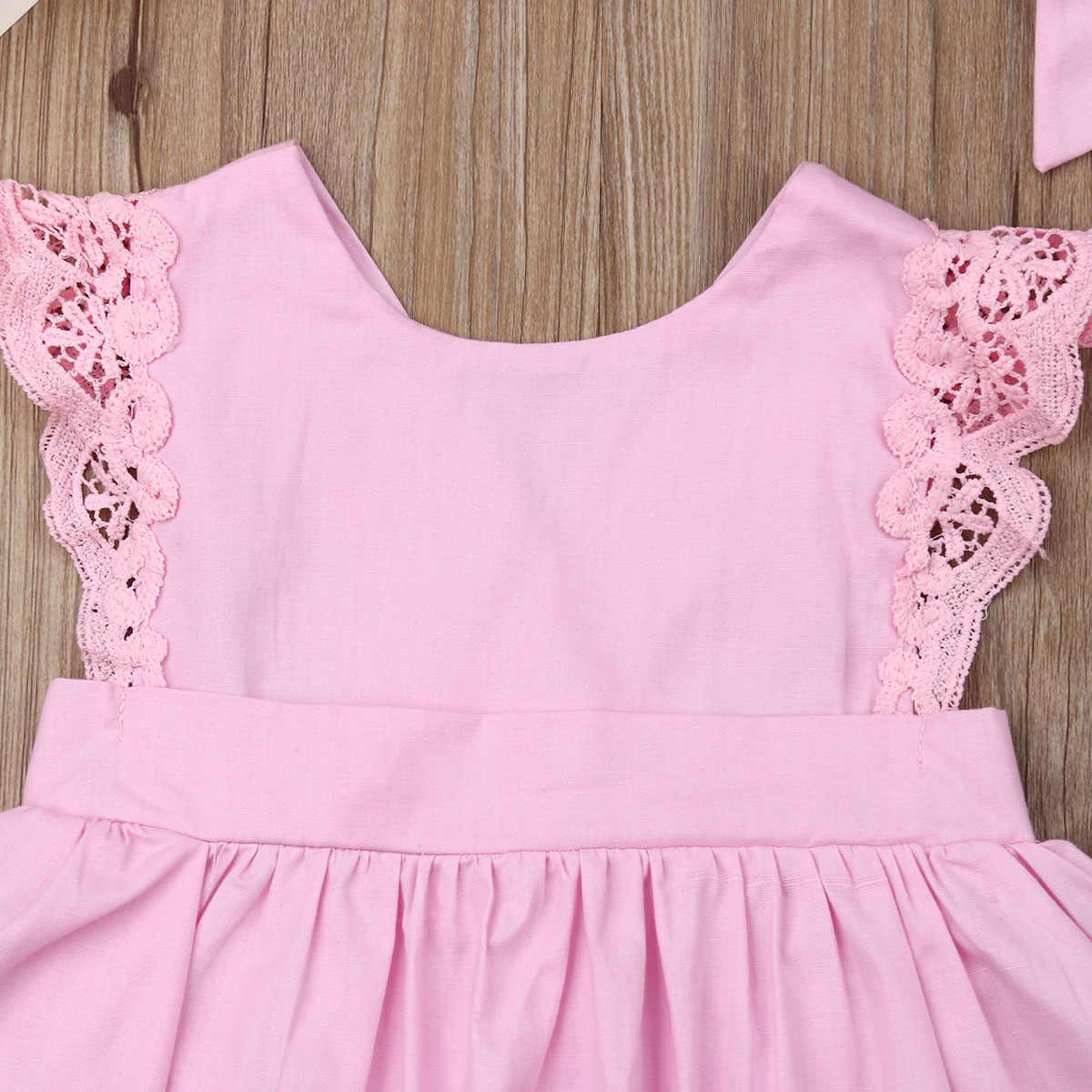 Pasgeboren Kid Baby Meisjes Kant Kleding Solid Jumpsuit Bodysuit Outfit Set