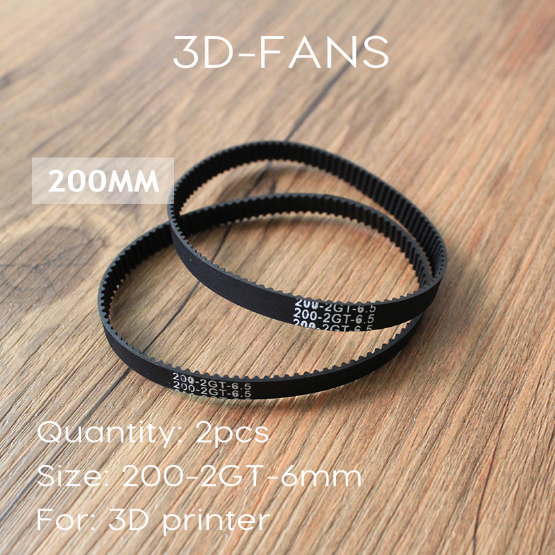 Free Shipping 2Pcs/lot 3D Printer Belt Closed Loop Rubber GT2 Timing Belt 200-2GT-6 Teeth 100 Length 200mm Width 6mm