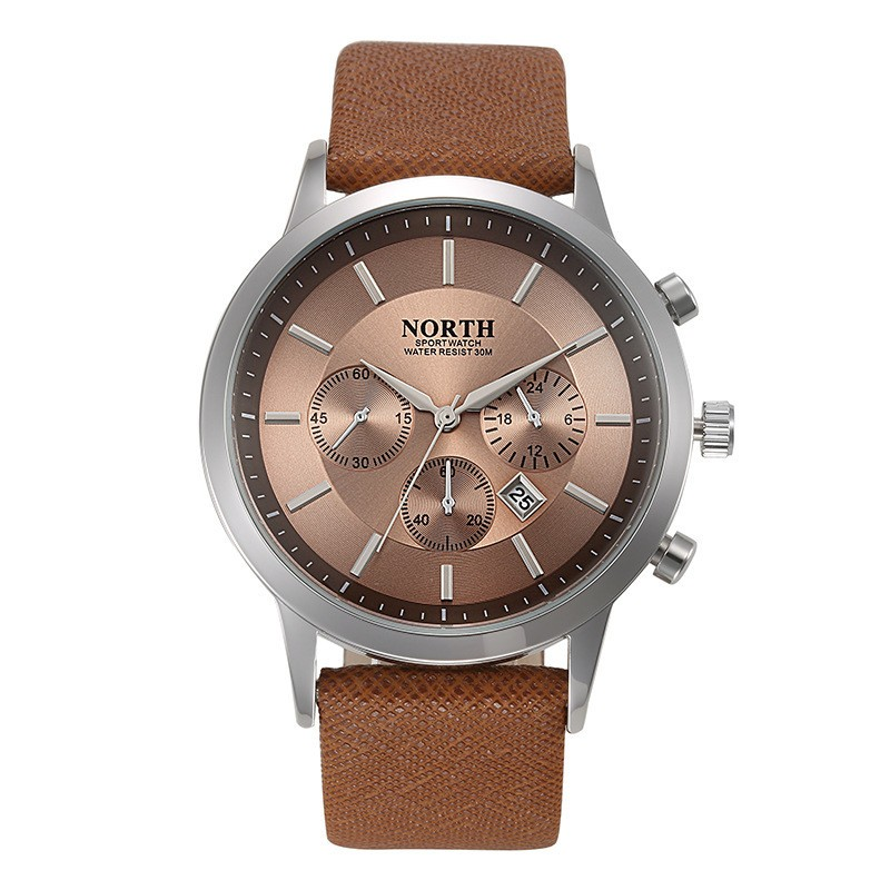 North Quartz Watch Brown Dial Sport Leather Strap