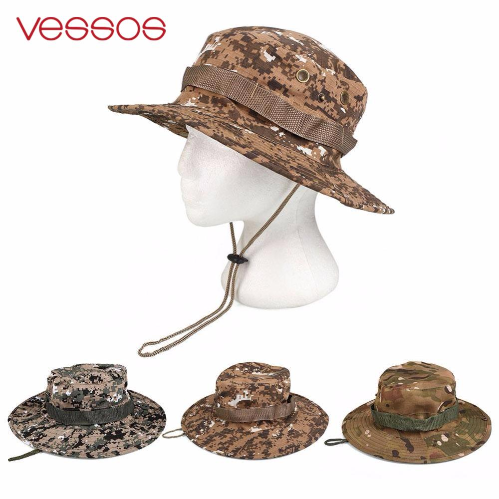 8448bc7d10c91 Vessos Outdoor Hiking Fishing Hunting Camo Boonie Bucket Hat Tactical Army  Military Jungle Bush Summer Sun