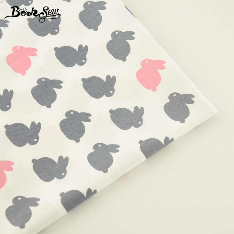 Booksew 100% Cotton Twill Fabric Lovely Rabbits Pattern Home Textile Sewing Cloth Tecido For Bedding Baby Craft Patchwork Pillow
