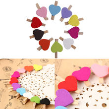 10Pcs/Pack Wedding Decoration Mini Heart Love Wooden Clothes Photo Paper Peg Pin Clothespin Craft Postcard Clips Home Decoration