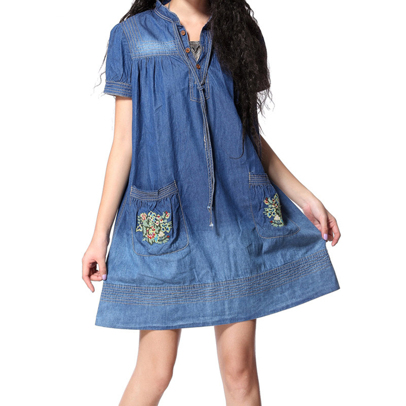 Fashionable trendy denim fabric brand women 39 s clothing spring summer embroidered collar large size short sleeved women dress in Dresses from Women 39 s Clothing