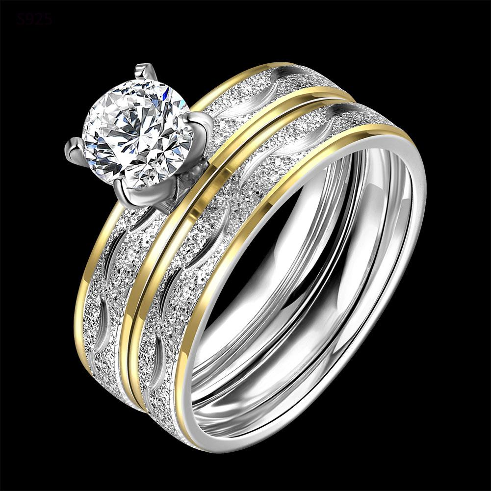 Vintage Fashion indah pola baja titanium cincin warna emas trendy - Perhiasan fashion - Foto 5