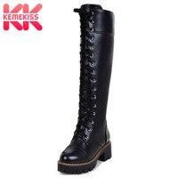KemeKiss Размеры 34–43 Для женщин ботинки с высоким голенищем на шнуровке платформа, большой каблук Женская обувь Модные Винтажные высокие сапог...