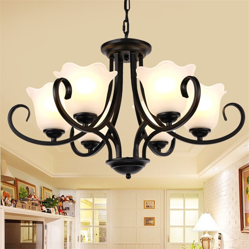 New Iron Glass Pendant Chandelier E27 Led Luminuaire Fitting for Bedroom Living Room Ceiling Lamp chandeliers lights led lamps e27 bulbs iron ceiling fixtures glass cover american european style for living room bedroom 1031