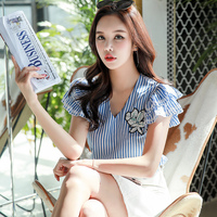 Dabuwawa New Female Summer Blouse Women Ladies Vintage Butterfly Sleeve Blue Striped Shirts Tops D18BST271