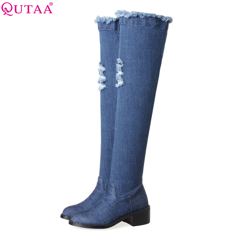 QUTAA 2018 Women Over The Knee Boots Square Med Heel Winter Shoes Women Round Toe Slip
