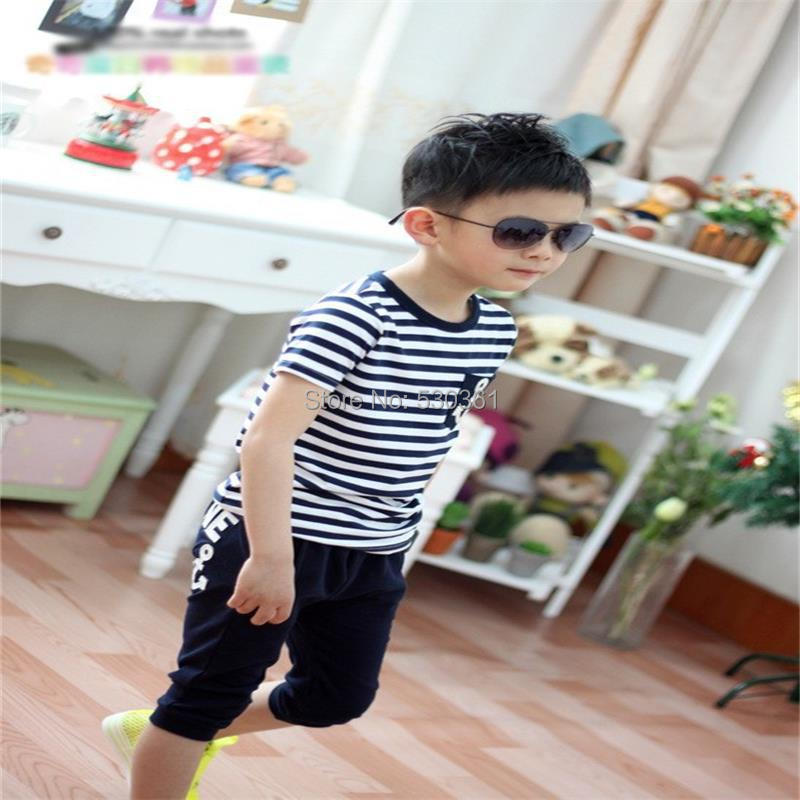TANGUOANT-Free-shipping-hot-sale-summer-clothing-sets-kids-pants-Top-boys-girls-Navy-Stripe-kids-clothes-children-tracksuit-5