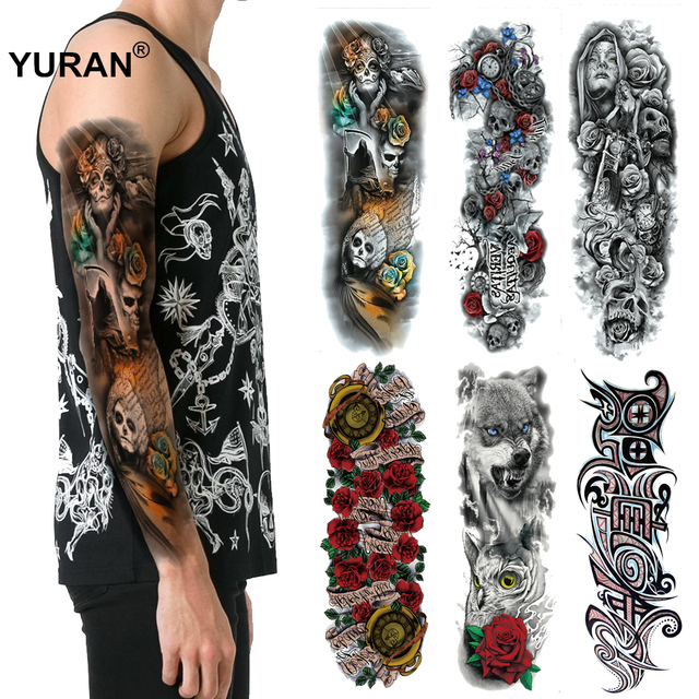 cac395002 Death Ghost Skull Big Body Full Arm Tattoo Sleeve Art 48*17CM Men Waterproof  Temporary
