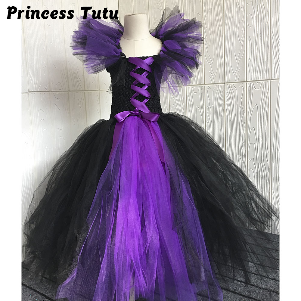 Hot Sale Evil Queen Girl Cosplay Tutu Dress Halloween Scary Costume For Kids Princess Girl Evening Party Tutu Dresses Size 1-10Y fancy girl mermai ariel dress pink princess tutu dress baby girl birthday party tulle dresses kids cosplay halloween costume